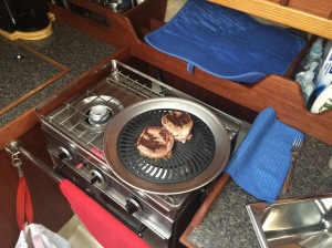 Cooktop grill. A must for all cruisers!