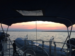 Anchoring in Alligator River - a long, hot day, but a good day.