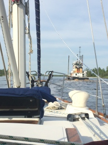 Coast Guard Tender off the starboard bow.  ICW Channel Marker 55.