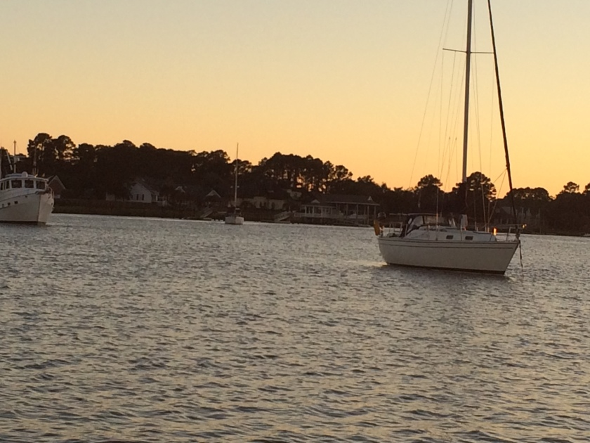 Anchor down 5:15. Herb River in Georgia. MM 585.